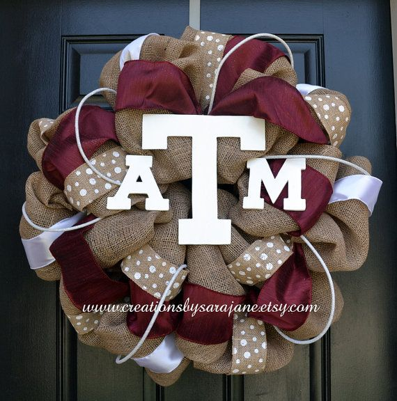 Texas A Burlap Wreath by CreationsbySaraJane at www.creationsbysarajane.etsy.com ~Love this!