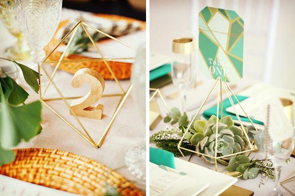Decoración de boda geométrica