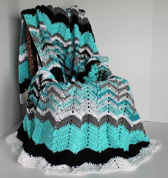 Afghan  Ripple Crochet Blanket  Teal White and by SnugableTouches, $90.00
