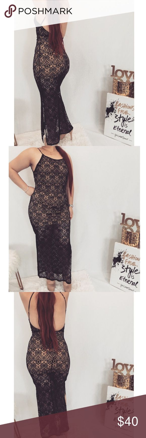 Black and Nude Long Dress Black and nude lace backless dress with nude underlay. Side Slits up to thighs. Zipper closure. Model is 5'5 size M. Fit is true to size. Styled City Boutique Dresses Maxi