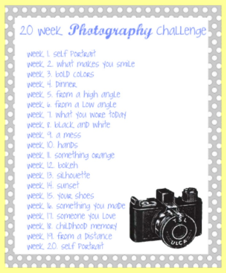 Photography Challenge ( a bucket list for your camera! LOL)