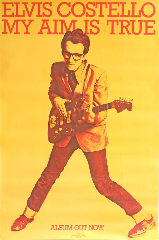 """Elvis Costello's """"My Aim is True"""" promo poster. Designed by Barney Bubbles, 1977."""
