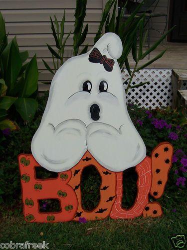 boo ghost halloween yard art lawn decoration hand painted ebay