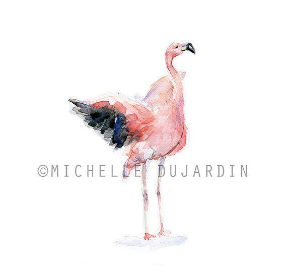 Flamingo schilderij  Origineel  Flamingo aquarel door Zendrawing