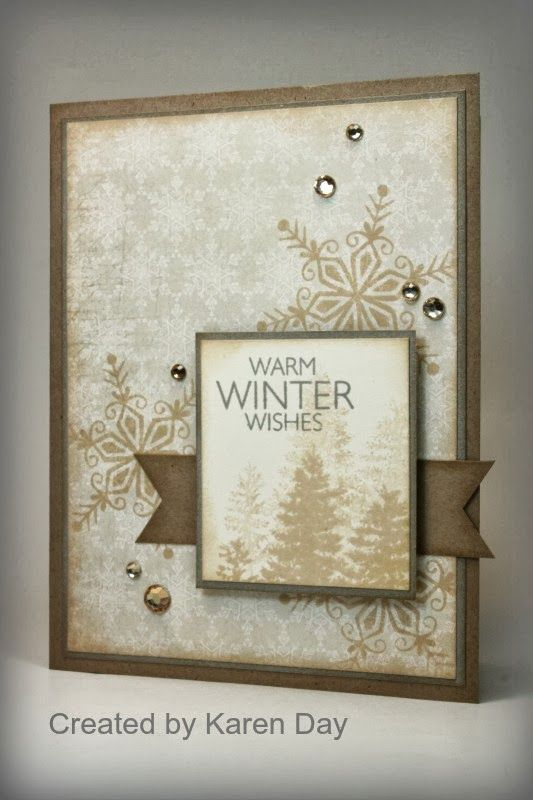 Patterned papers and stamp set are Frosted Workshop on the Go; Cardstock is Kraft, Slate & Colonial White; Inks are Champagne & Slate; Tan and Brown Sparkles - all Close To My Heart.