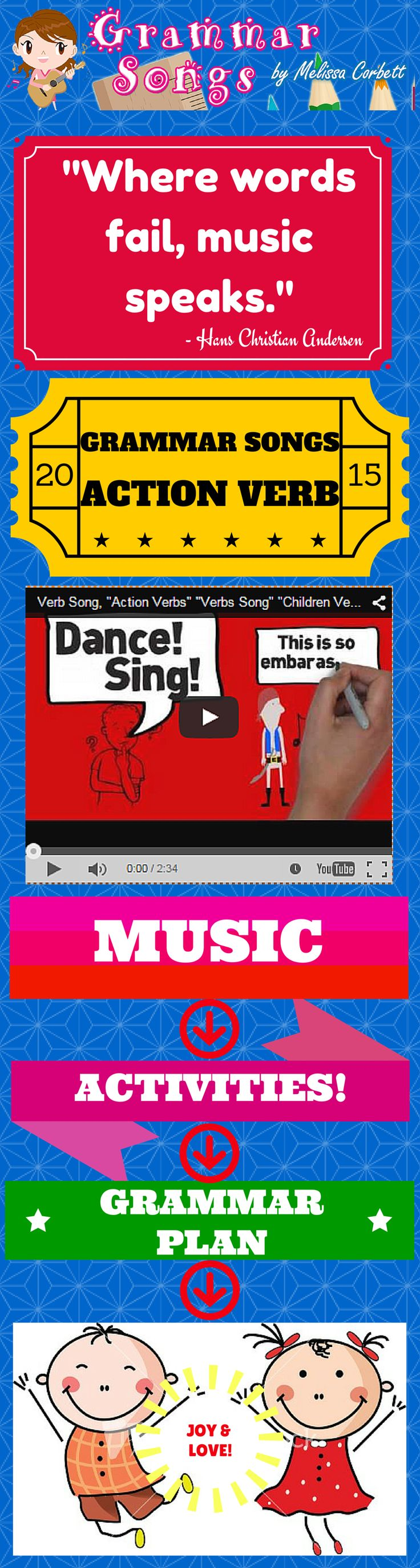 Free...Grammar Songs, Action Verbs...Verb Song New by Melissa... This song not only illustrates clearly the concept of the action verb, but it demonstrates in an effective way why verbs are necessary when writing. Although the concept of an action verb is a simple concept, this song takes verbs further than the level of identification as a part of speech. The addition of the importance of the action verb (and quality of action verb used) is relevant to all elementary grade levels.