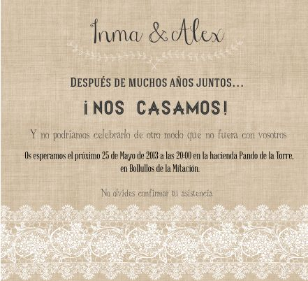 invitacion de boda con encajes imprimible #boda #wedding #imprimible #printable // lace and burlap wedding invitation