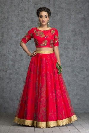 image result for crop top and long skirt lehenga