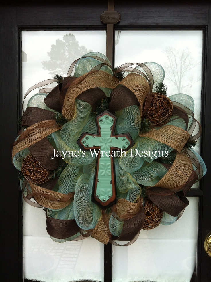 Brown & Turquoise Wreaths with cross and burlap ribbon