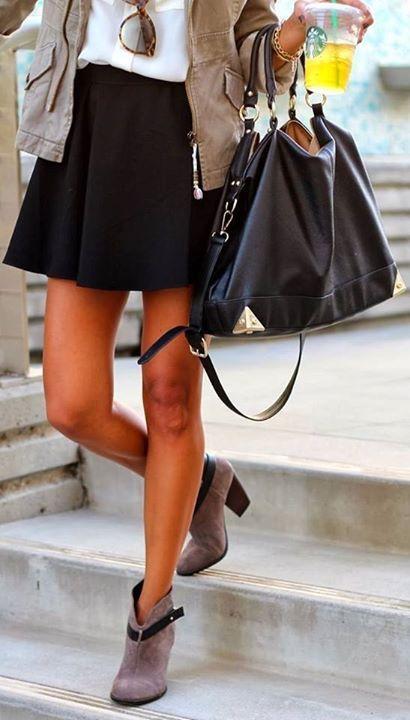 Skater skirt. Booties. Handbag. Perfect.