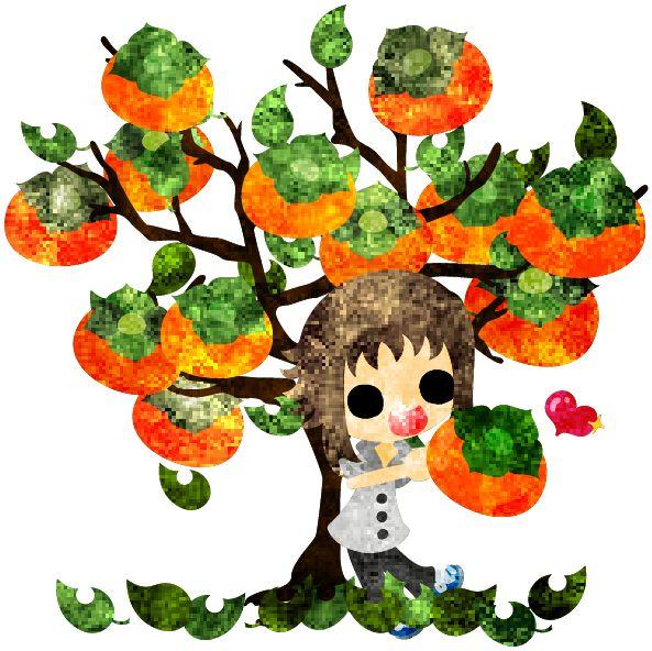 秋のフリーのイラスト素材可愛い女の子と美味しい柿の木  Free Illustration of autumn A cute little girl and a tree of delicious persimmon   http://ift.tt/2cB3o4y
