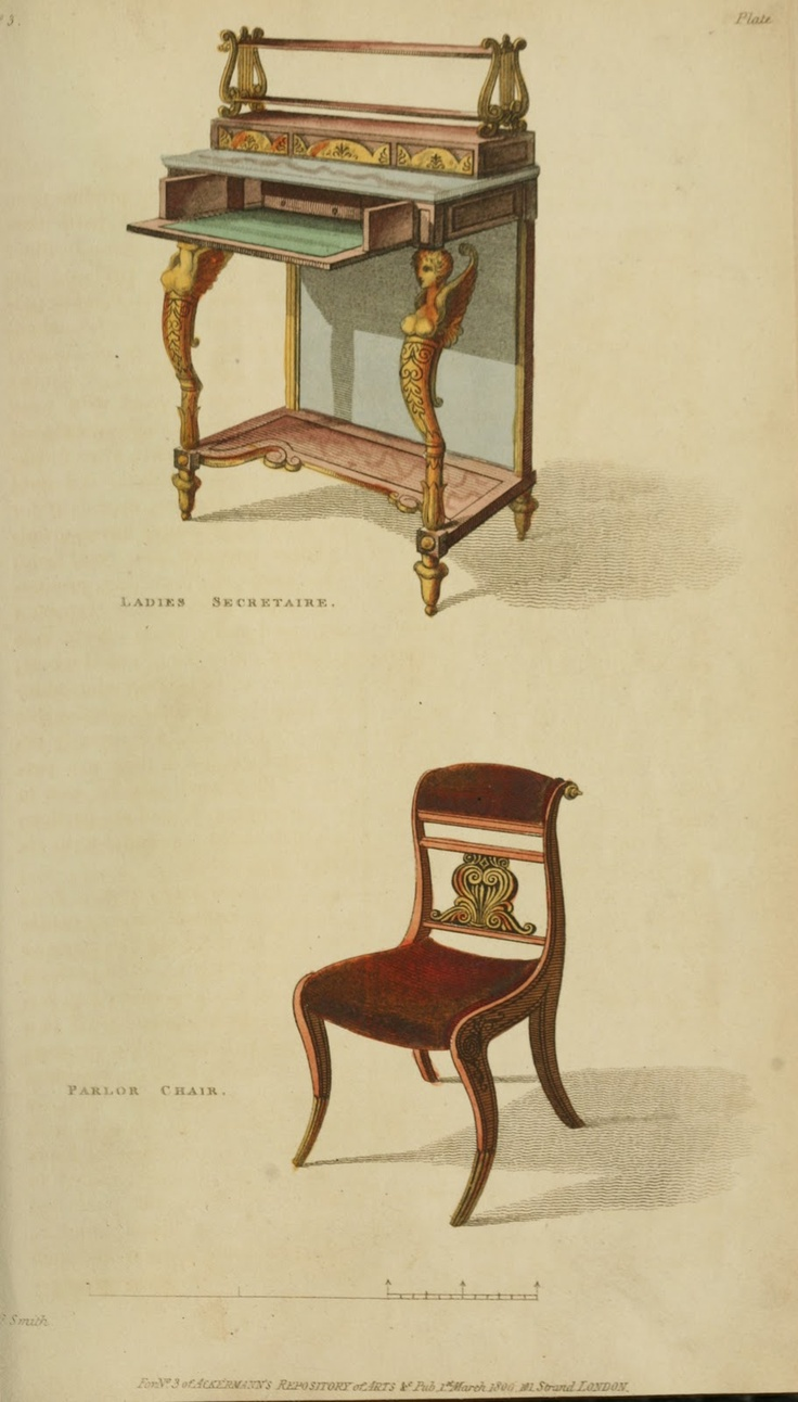 Chair antique queen anne chair the buzz on antiques antique chairs 101 - 1809 Ladies Secretary And Parlor Chair From Ackermann S Repository Ekduncan My Fanciful Muse Regency Furniture 1809 Ackermann S Repository Series 1