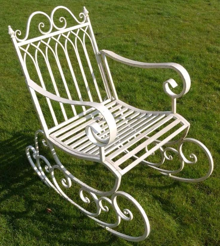 This rocks !!! Victorian Style Metal Garden Rocking Chair In A Shabby Chic Finish: Amazon.co.uk: Garden & Outdoors