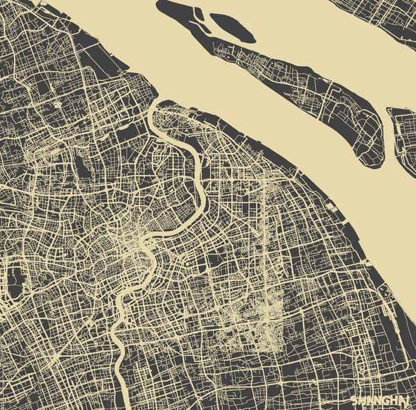 Shanghai Map #1 Art Print