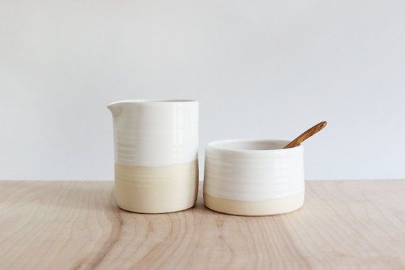 Cream and sugar bowl set, minimalist white pottery pitcher and sugar bowl with wood spoon