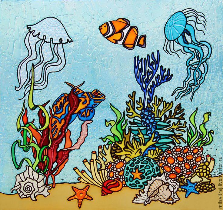 """Купить Витражная роспись """"рыбки"""" / подводный мир - стекло, стеклянная картина, картина на стекле"""