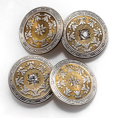 Antique Victorian Mens Cufflinks w/ Diamonds 14K Gold & Platinum. These handsome antique mens cufflinks are crafted of solid 14k yellow gold and each centered with an Old European cut diamond. The cufflinks have been decorated with intricate platinum overlay designs and are in good condition.