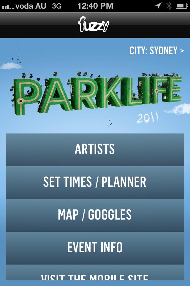 Parklife 2011 iPhone App @ParklifeAUS