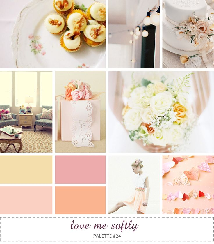Inspiration Board Love Me Softly Yellow Pink Peach Rose Pastels