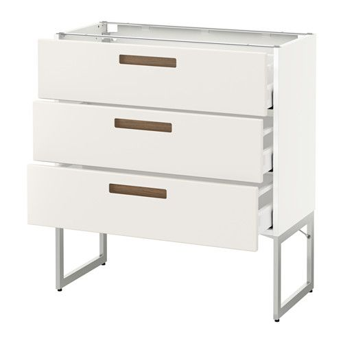 IKEA - METOD, Base cab 3 fronts/3 medium drawers, white, Märsta white, 80x37x60 cm, Ma,