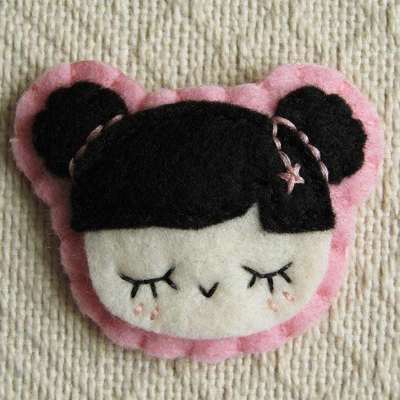 Kawaii Kokeshi Felt Hair Clip by hellohappy on Etsy, $12.00