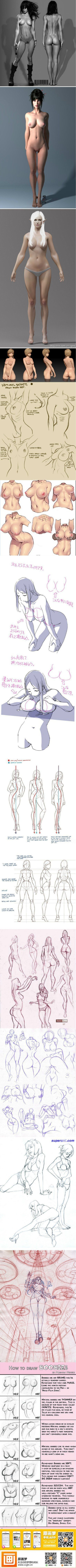 How to Draw the Female Face | Body anatomy. How to draw female body.: