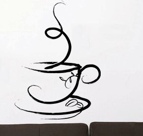 Cup of Coffee  - Wall Decal Vinyl Decor Art Sticker Removable Mural Modern. $44.99, via Etsy.