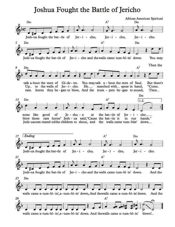 Free Sheet Music - Free Lead Sheet - Joshua Fought the Battle of Jericho - African American Spiritual