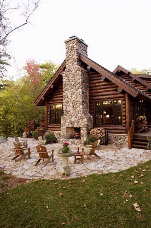 Use backside of fireplace for an outside seating area