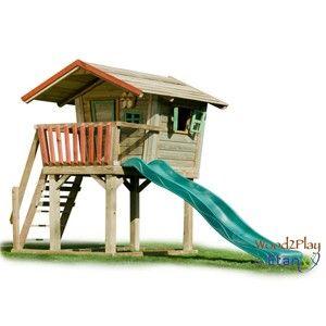 Gewelig voor de kids. Nederlands product Etan Wood2Play Silva 135 speelhuisje, kan zo in de Efteling! designindetuin.nl