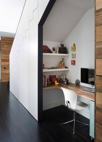 we could make small coat closet next to office space under stairs