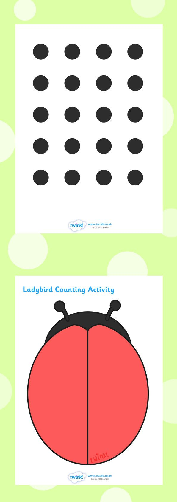 Twinkl Resources >> Ladybug Spot Counting Activity  >> Classroom printables for Pre-School, Kindergarten, Elementary School and beyond! Math, Numbers, Counting