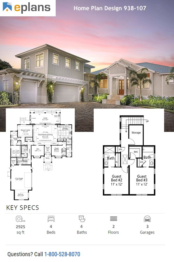Cottage Style House Plan 4 Beds 4 Baths 2925 Sq Ft Plan 938 107
