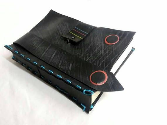 Inner tube upcycled book cover book jacket with bookmark