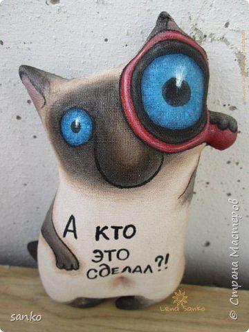 Игрушка Шитьё Цветные кофейные котики Краска Ткань фото 8