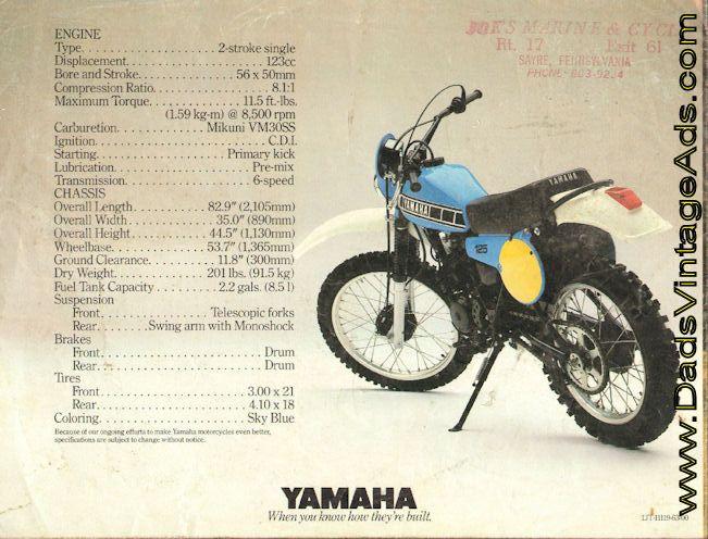 1980 Yamaha It125 4 Page Motorcycle Brochure Motorcycle Yamaha Motor Yamaha