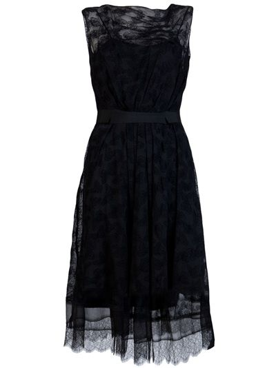 Lace dress in black from Nina Ricci. This butterfly print silk A-line dress features a boat neck, pintuck detail at bodice, grosgrain ribbon waistband, and scallop lace hem. Has back zipper closure and tank slip dress.