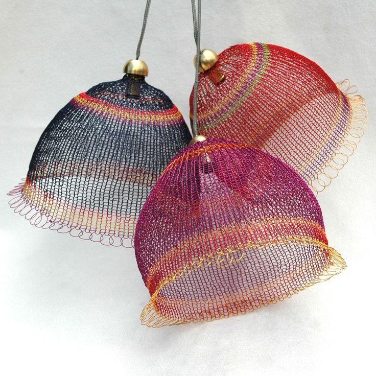 "'Feminine Round Lampshade' by Iraeli designer Yael Falk. crocheted wire, 4"" diameter. via Yoola on Etsy."
