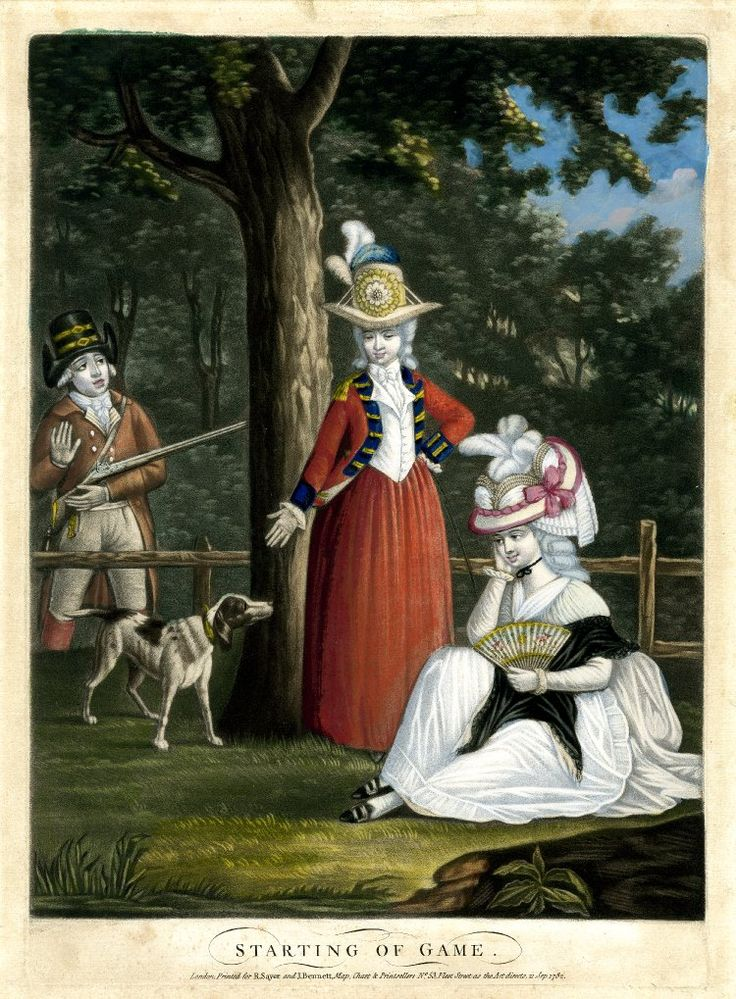 . 2010,7081.1316 Starting on Game A man carrying a gun on the left looks in admiring surprise over a fence in a forest at two young women, one sitting with a fan, the other standing and greeting the sportsman's dog. 21 September 1782 Hand-coloured mezzotint with some etching