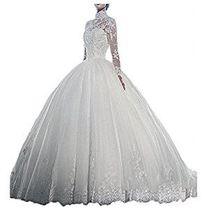 f9df8cdbe69 Yuxin High Neck Long Sleeves Wedding Dress Lace Ball Gown Wedding Gowns (14  White)