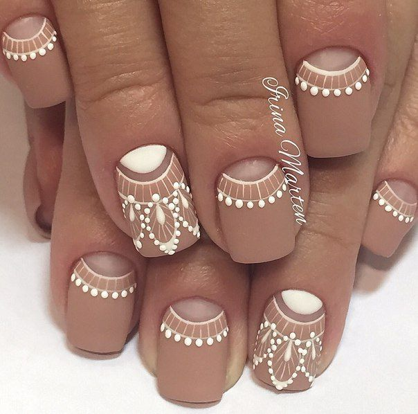 Beautiful nails 2016, Dating nails, Exquisite nails, Ideas of beige nails, Matte nails, Nails trends 2016, Nails with ornament, Original moon nails
