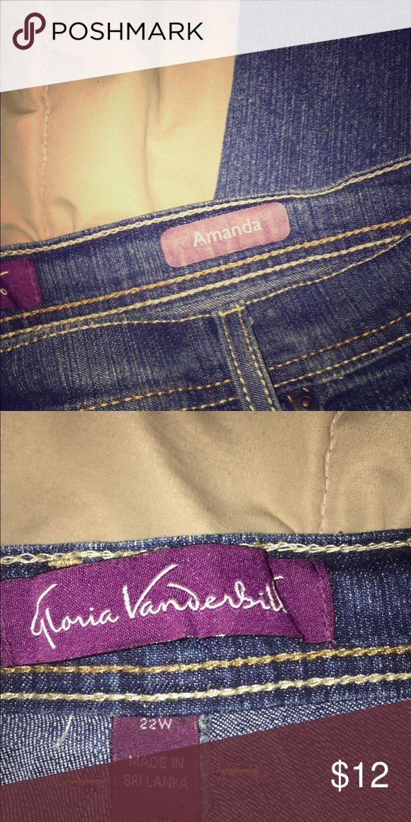 Gloria Vanderbilt Amanda Jean Gloria Vanderbilt size 22w famous Amanda Jean. In excellent condition. Lol I got fat 😜 Gloria Vanderbilt Jeans Boot Cut