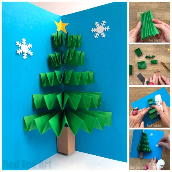 Diy Christmas Pop Up Card Red Ted Art Make Crafting With Kids Easy Fun Christmas Tree Cards Christmas Tree Crafts Diy Christmas Cards