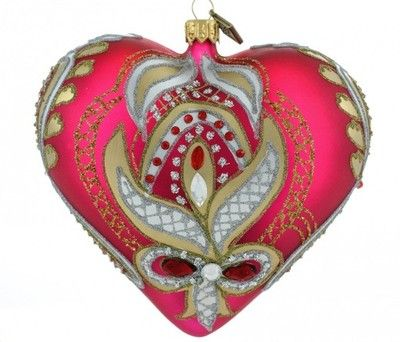 Szklana bombka choinkowa Serce 12cm Gorace uczucie