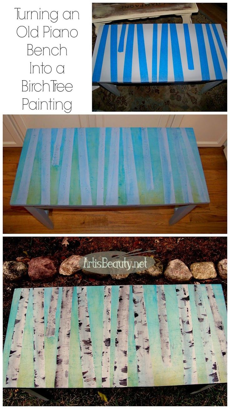 ART IS BEAUTY: Birch Trees Painted piano bench