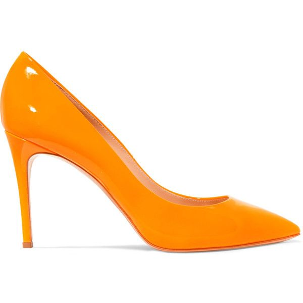 Casadei Glossed-leather pumps ($265) ❤ liked on Polyvore featuring shoes, pumps, orange, pointed toe high heel pumps, orange high heel shoes, orange pumps, leather slip on shoes and leather slip-on shoes