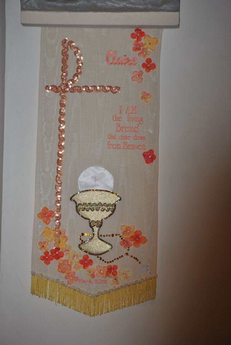 25 best images about first communion banner ideas on for First communion craft ideas