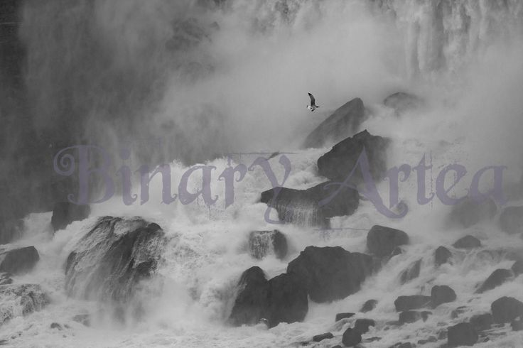 Waterfall Paused- Black and White, Digital Download, Photography, Landscape by BinaryArtea on Etsy
