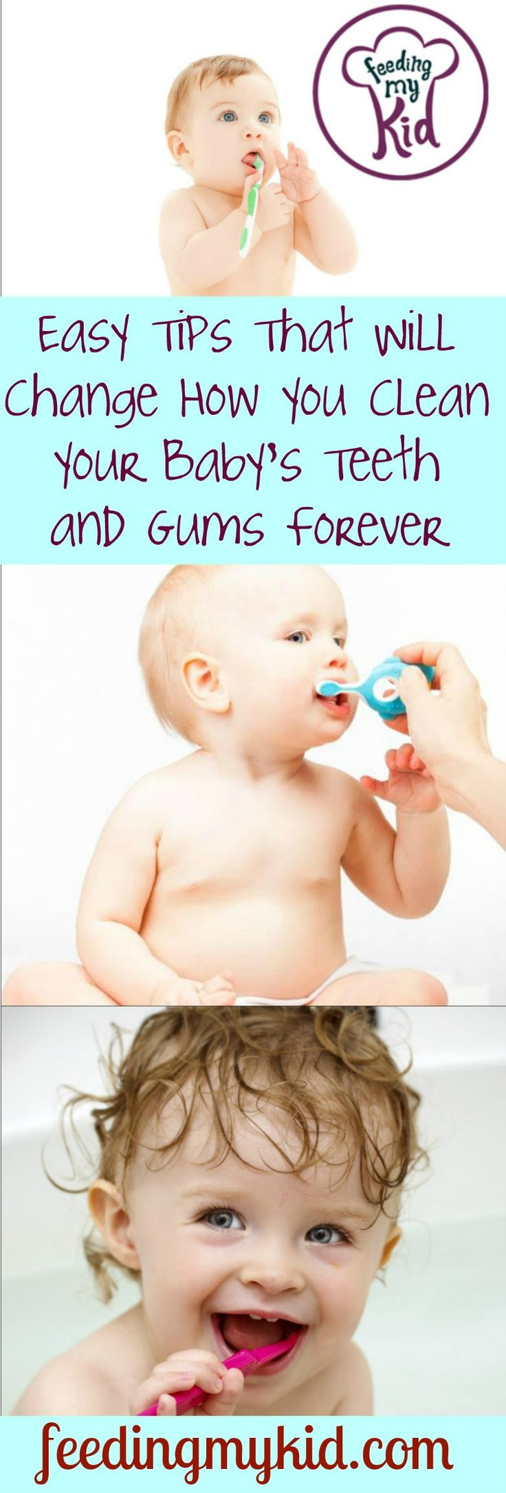Check out these videos about brushing baby teeth and brushing your baby's gums. First, learn to do it with a baby cloth. Then, transition to a toothbrush!