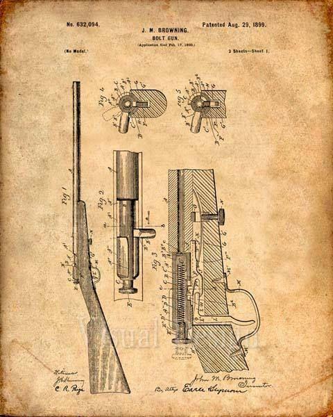 Se trata de una copia de la patente para una pistola de cerrojo Browning en 1899. La patente original ha sido limpiada y mejorado para crear una pieza de exhibición atractiva para su hogar u oficina. Esto es una gran manera de poner tus intereses y aficiones en exhibición. Idea de regalo maravilloso también. La imagen se imprime en papel ácido, profesional gratis, archivo mate arte dando la imagen de colores ricos y vibrantes. Impresiones son empaquetadas en fundas libres de ácido…